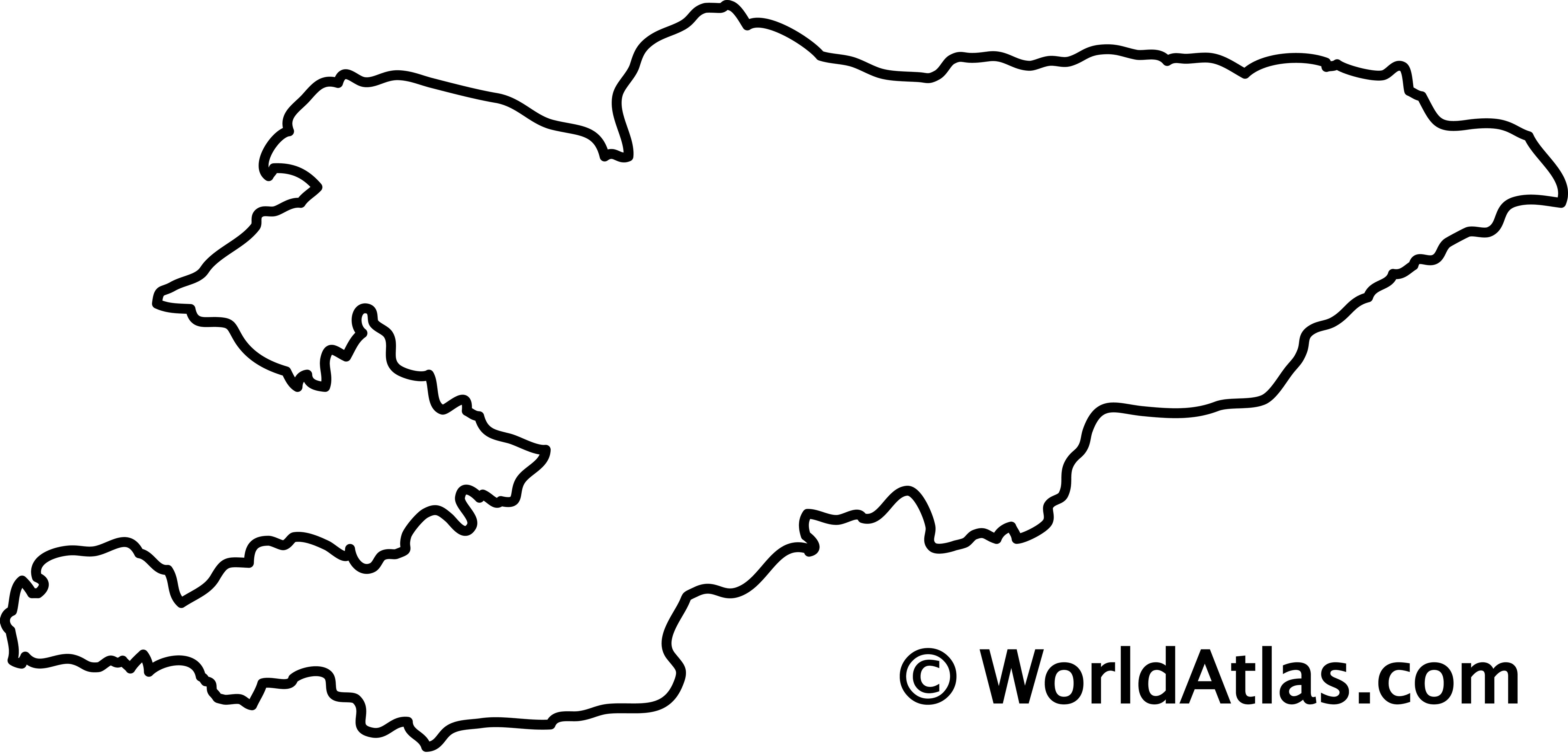 Blank Outline Map of Kyrgyzstan