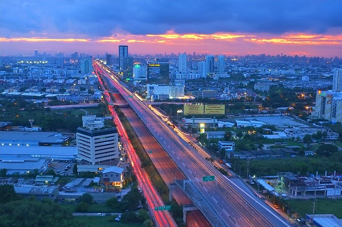 The Bang Na Expressway, in Thailand, is one of the largest bridges in the world. Editorial credit: Pradit.Ph / Shutterstock.com.