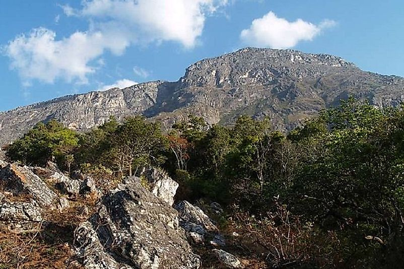 The peak of Binga, the highest point in Mozambique.