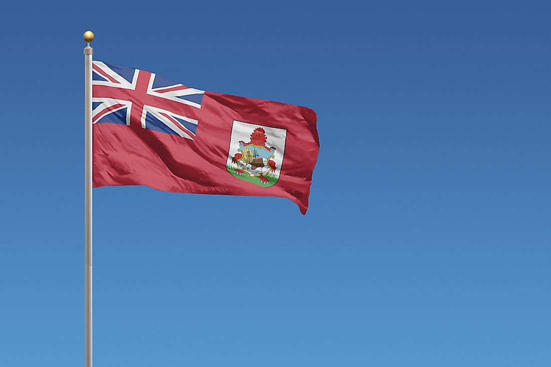 As an UK territory, the Bermudan flag includes both the UK's Union Jack and the Bermudan coat of arms.