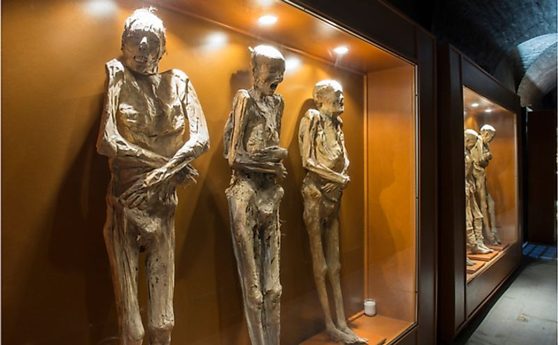 Mummies on display at the Mummy Museum. Editorial credit: VG Foto / Shutterstock.com