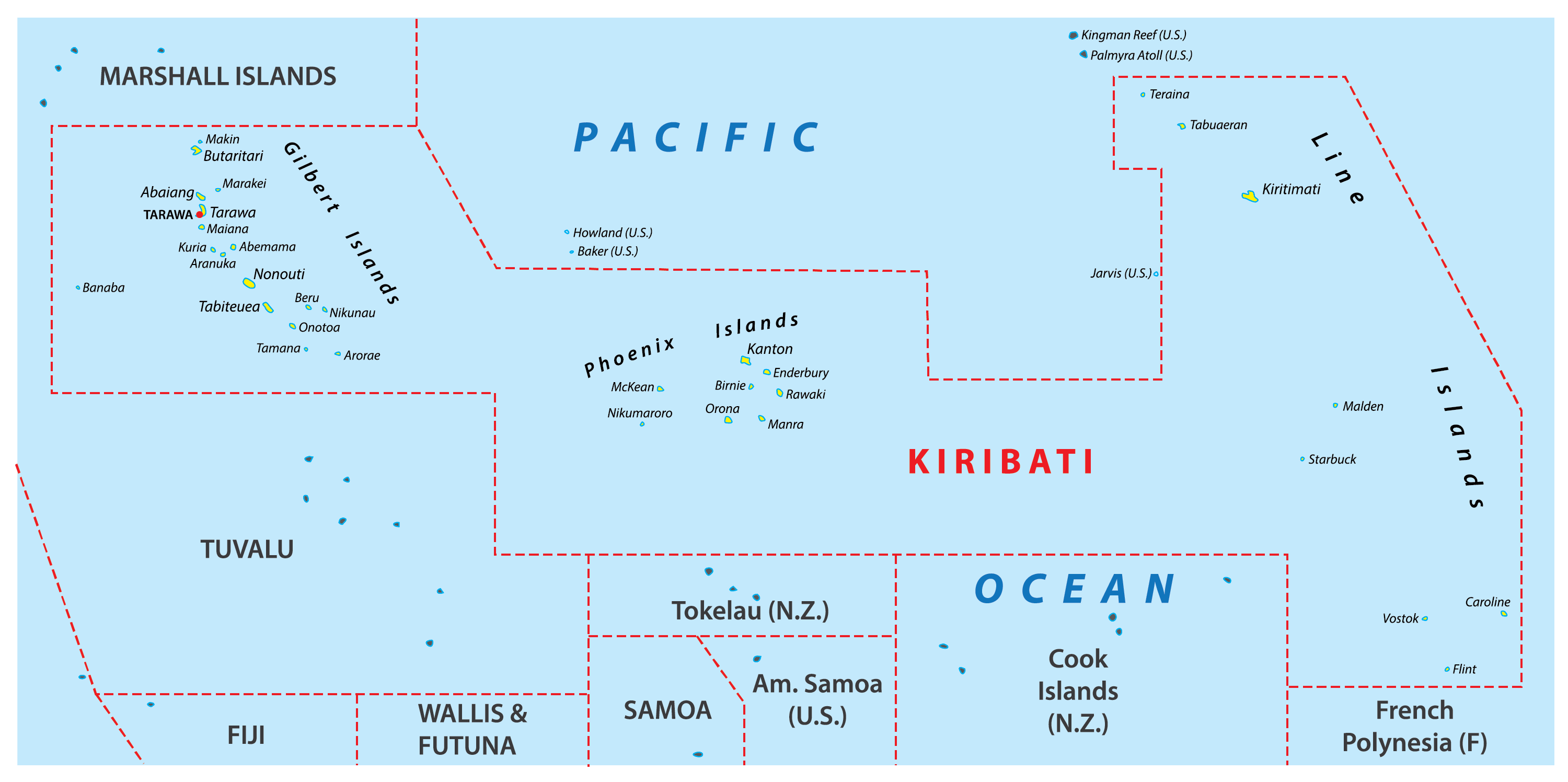 Map of Kiribati showing its 3 geographical units