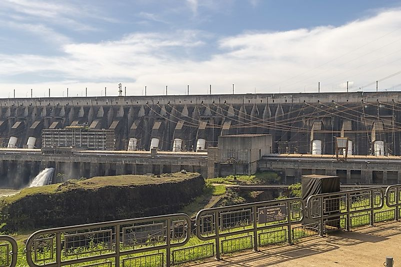 Itaipu Dam, seen from the Brazilian side of the Parana River along the border with Paraguay.