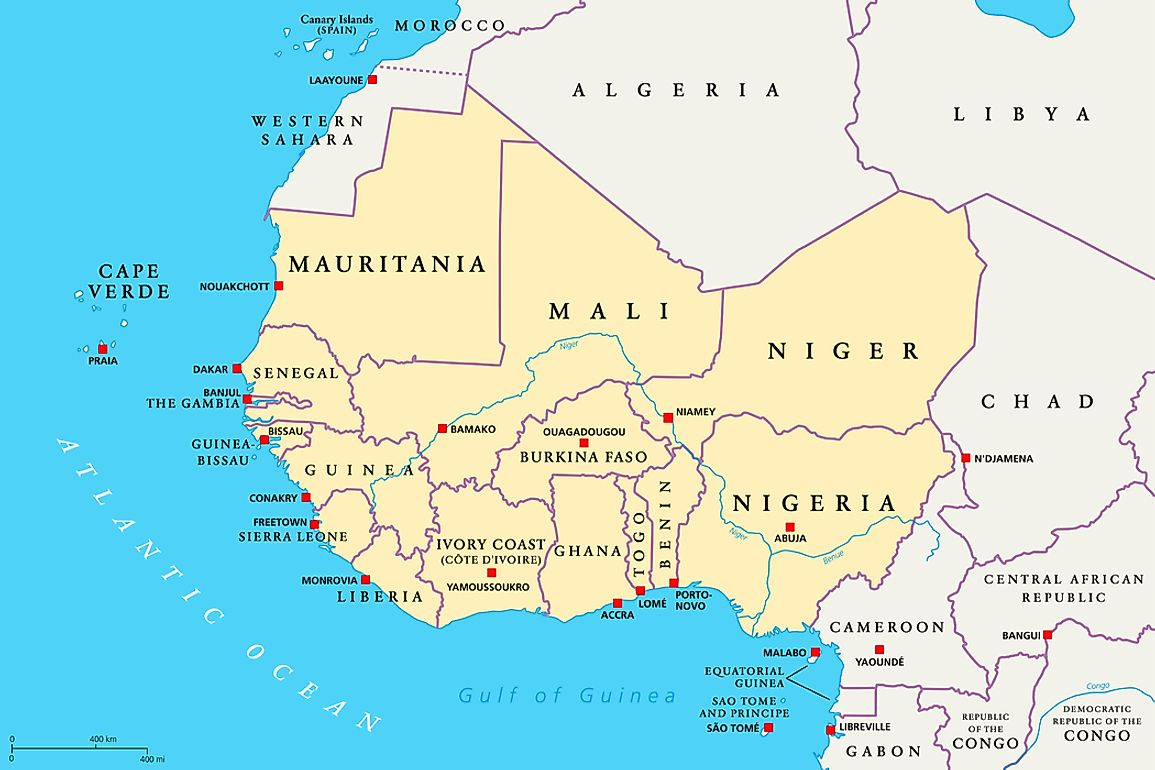 west africa political map Which Countries Are Part Of West Africa Worldatlas west africa political map