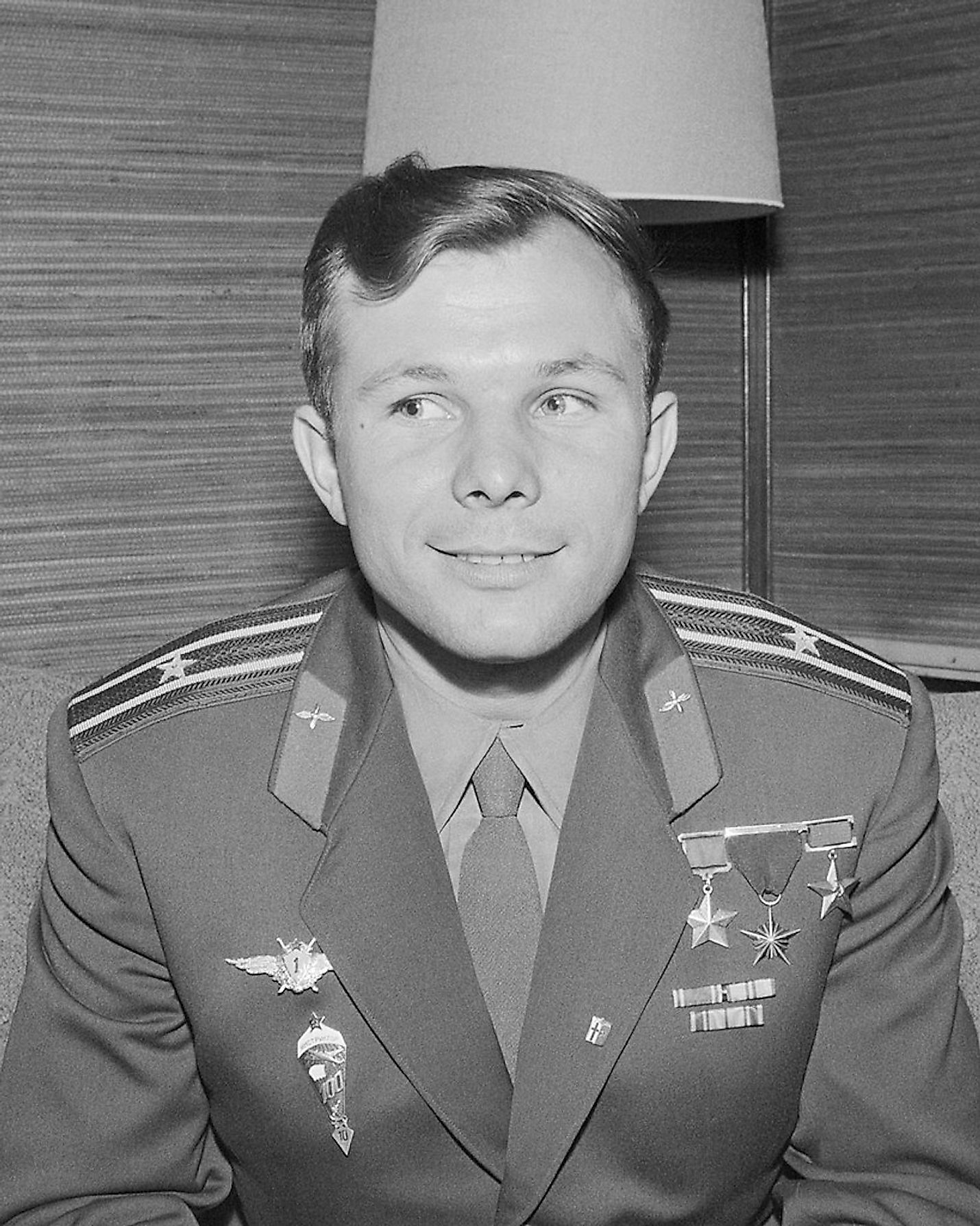 Photograph of the Soviet cosmonaut Yuri Gagarin at a press conference during his visit to Finland.