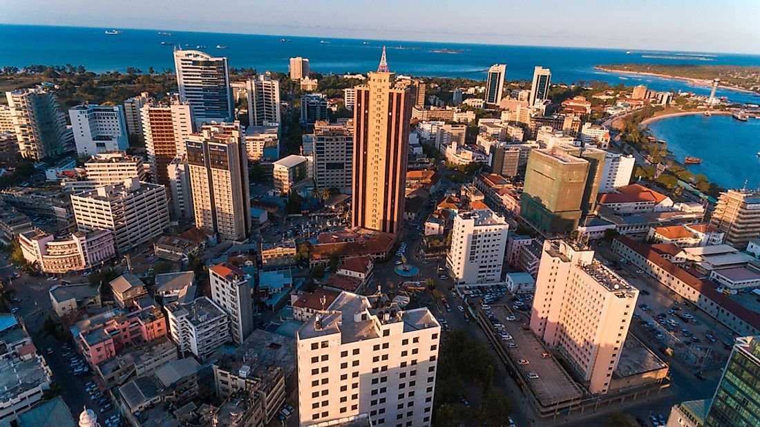 The skyline of Dar es Salaam, Tanzania. Tanzania is one of the most racially diverse countries in the world.