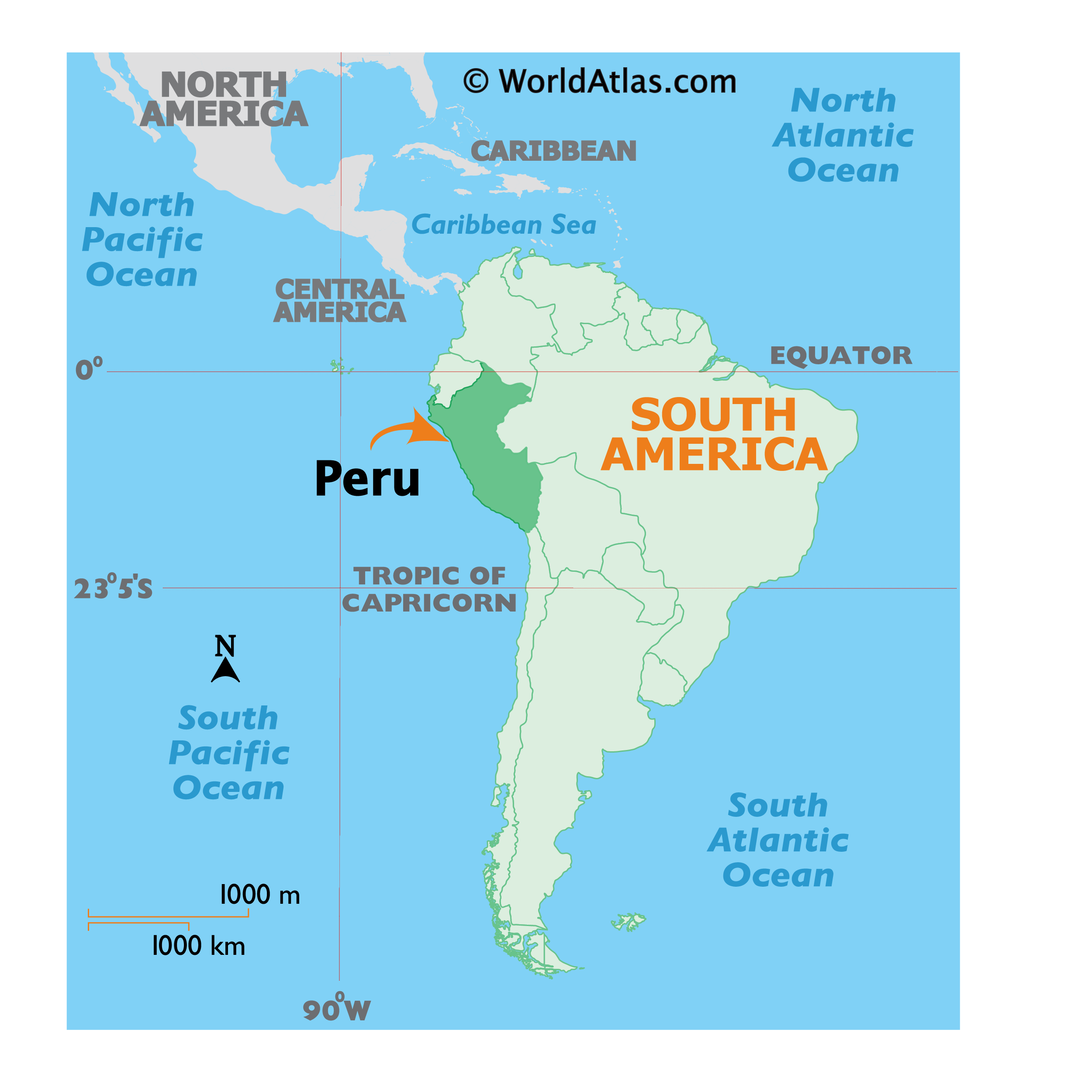 Map showing location of Peru in the world.