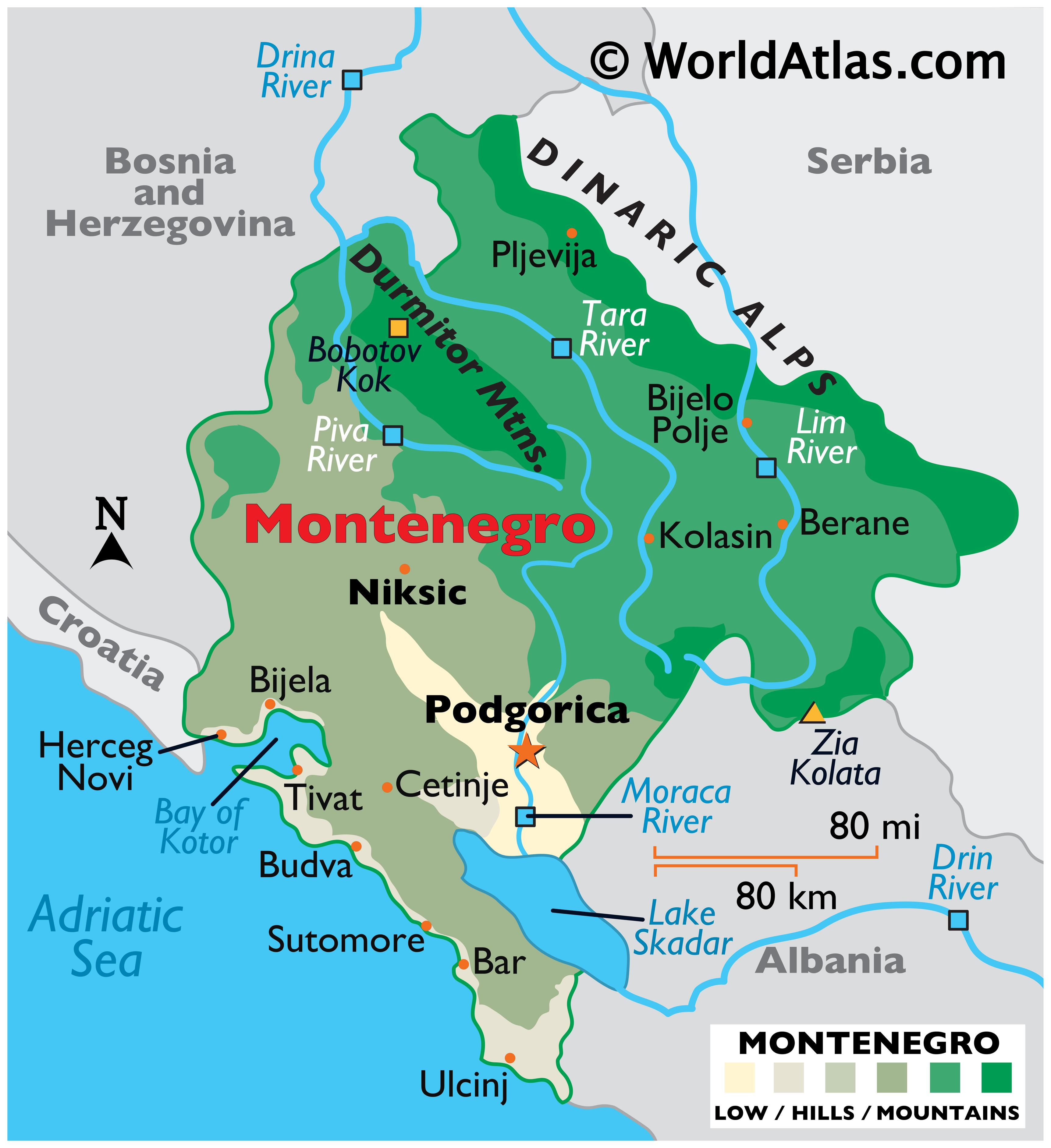 Physical Map of Montenegro showing relief, major mountain ranges, rivers, Lake Skadar, important cities, bordering countries, etc.