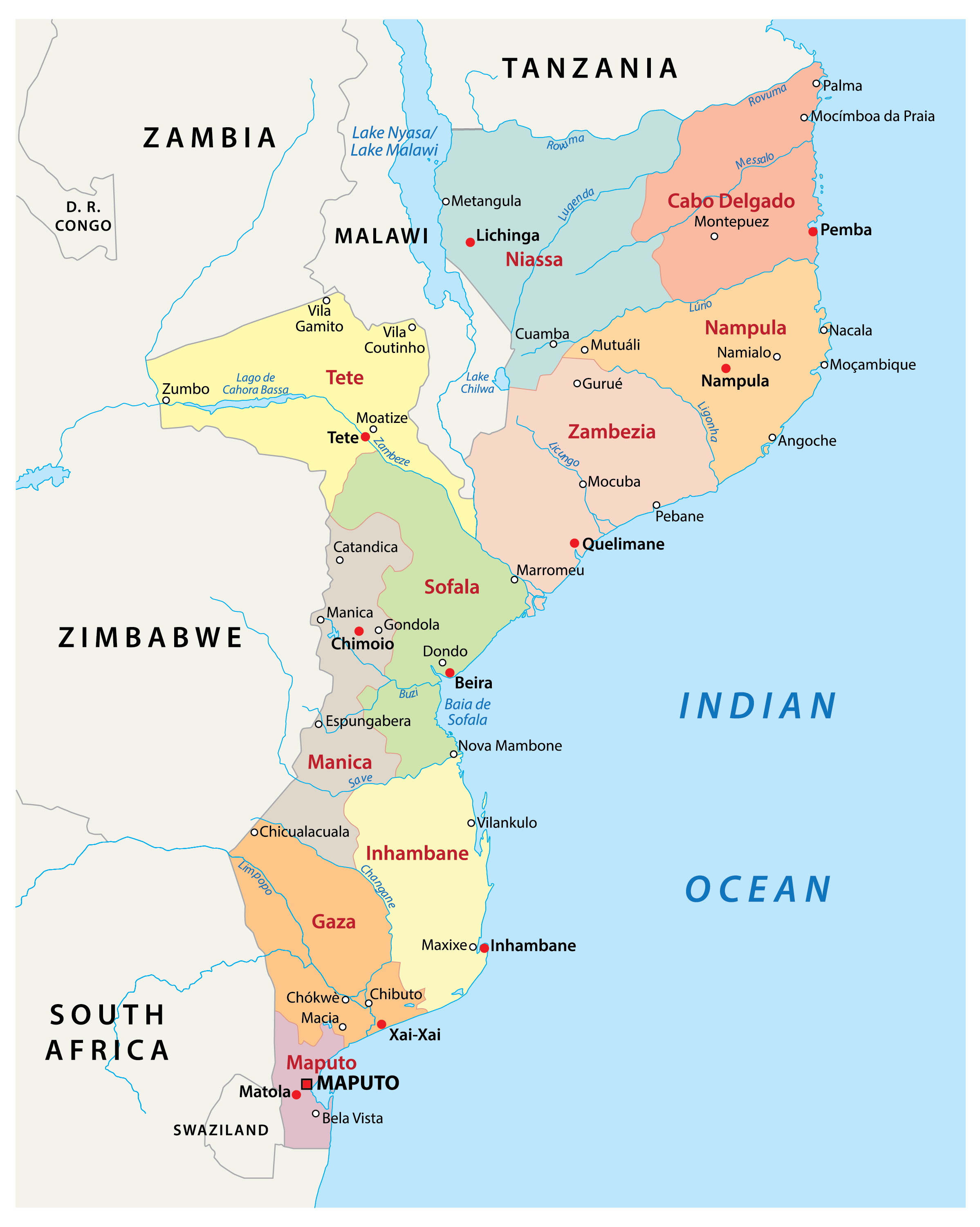 Political Map of Mozambique showing 10 provinces, their capital cities, and the national capital of Maputo.