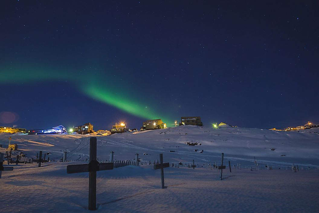 The Northern Lights in Iqaluit, Canada, which is the coldest city in North America.