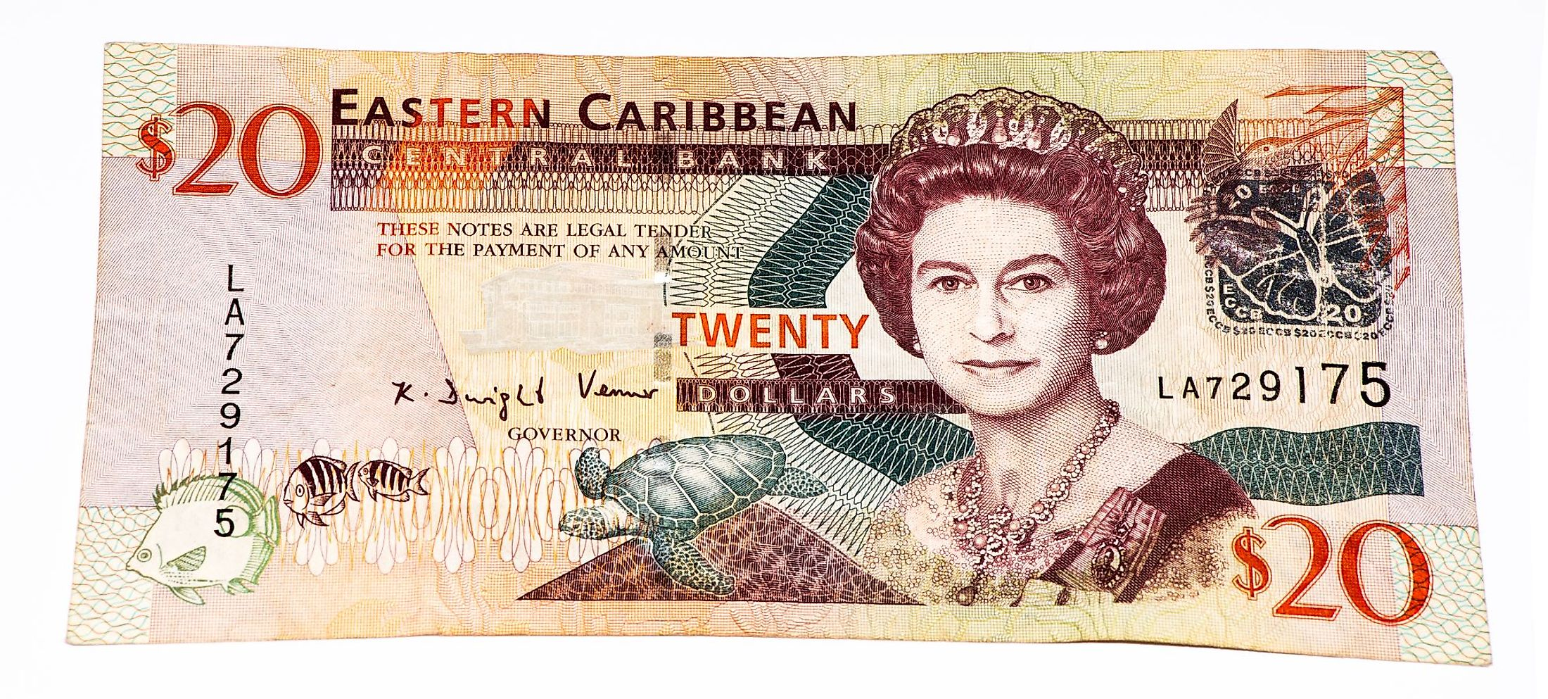 East Caribbean dollar coins and banknote.