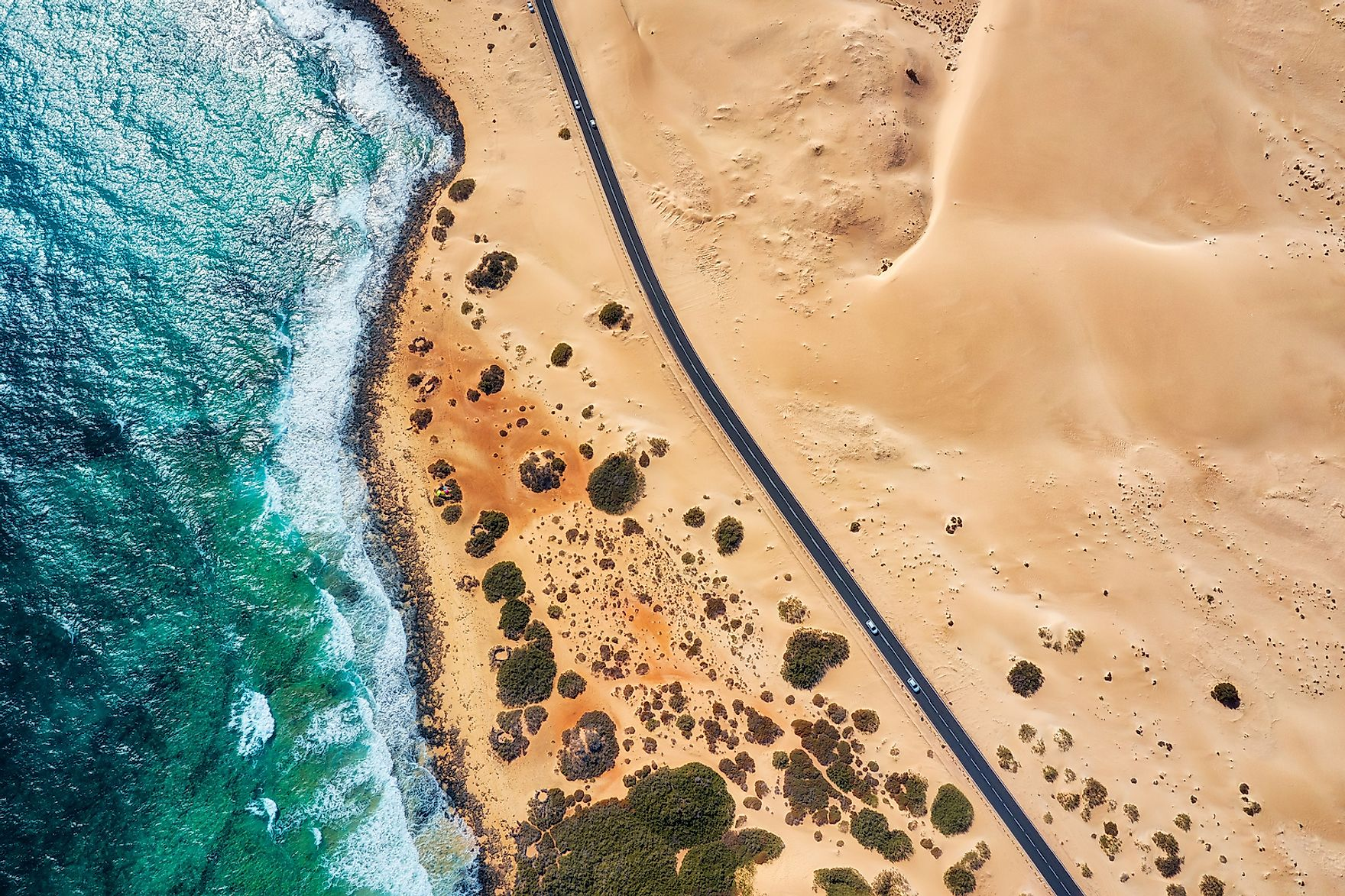A highway running through the coastal Namib Desert. Image credit: Lukas Bischoff Photograph/Shutterstock.com