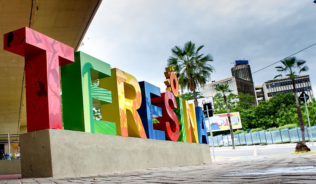 Sign of the city of Teresina in Brazil. Editorial credit: carlos andre photography / Shutterstock.com