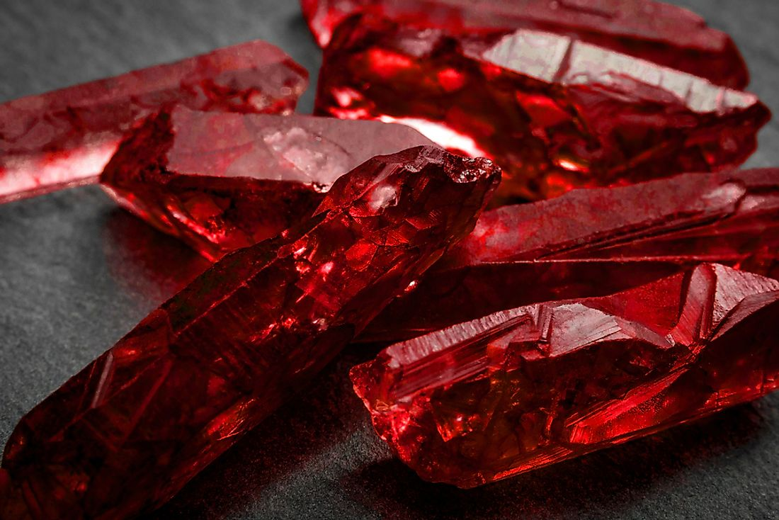 A close up of rubies.