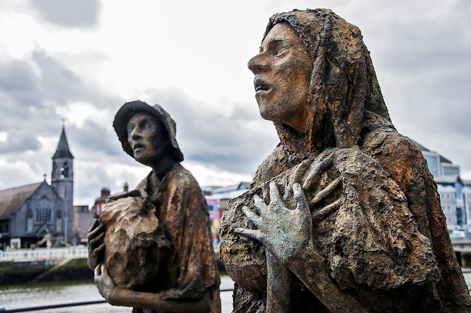 The Famine statues, in Custom House Quay in the Dublin Docklands. Image credit: Yulia Plekhanova/Shutterstock.com