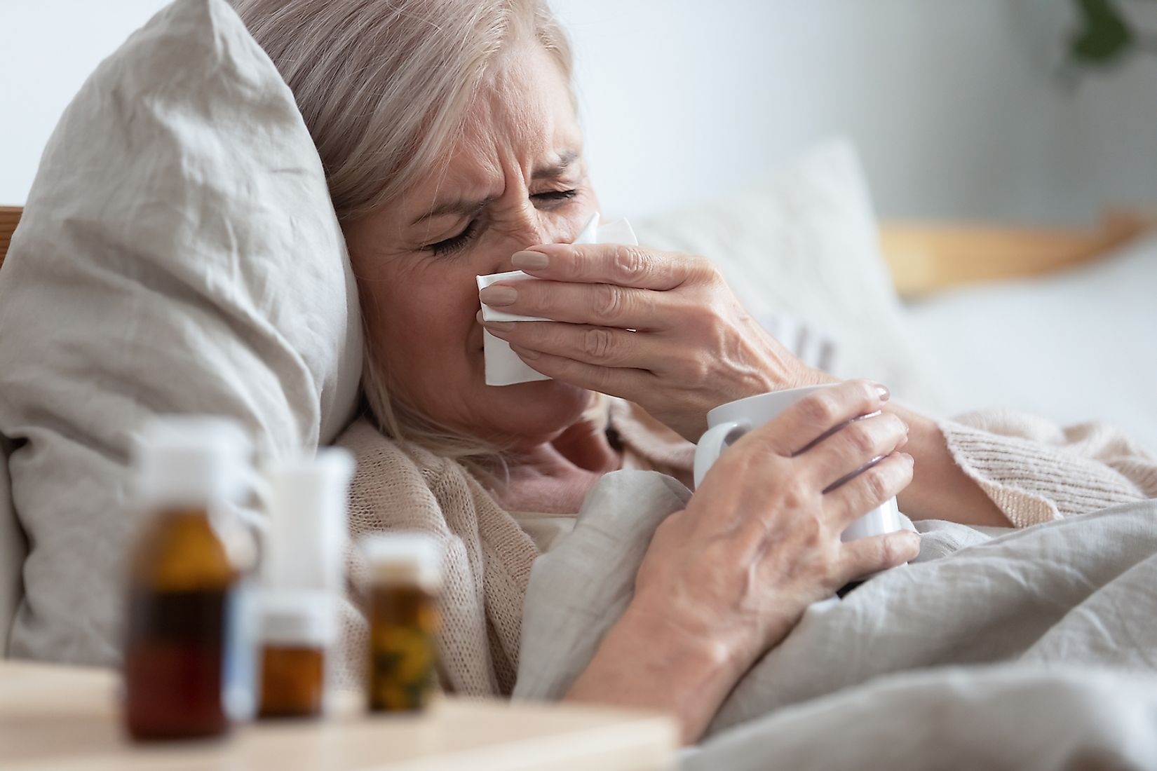 An elderly woman down with severe flu. Image credit: fizkes/Shutterstock.com