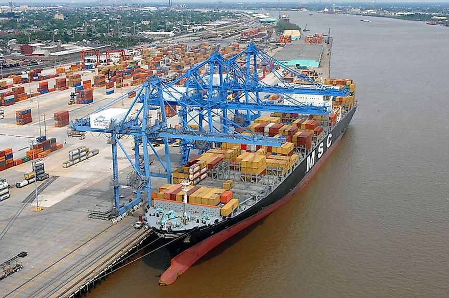 Container ship unloaded at the Port of New Orleans, the 7th busiest port in the US