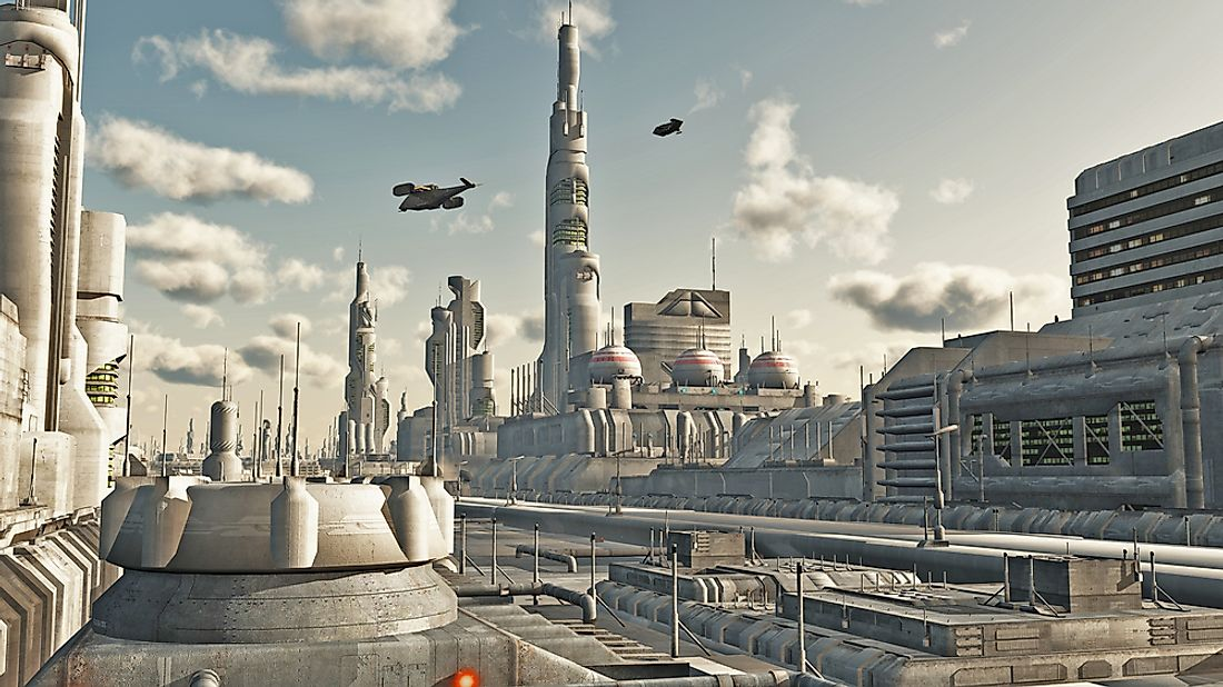 Futuristic city: although the plans for Futurama were not quite this extreme, it belongs to the same general idea.