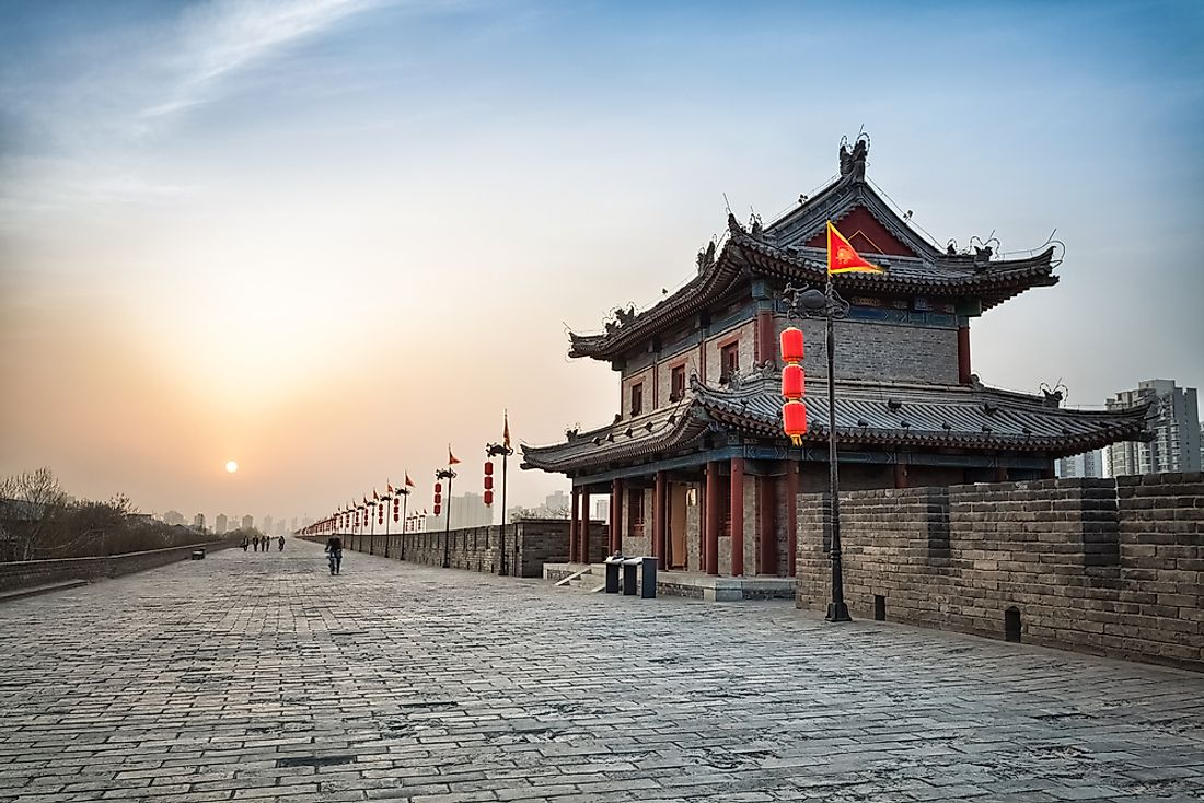 The city walls of Xi'an, one of the ancient cities of China.