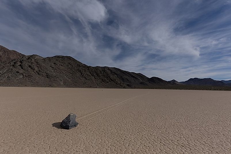 A Death Valley stone on the move, leaving a mysterious footprint in its wake.
