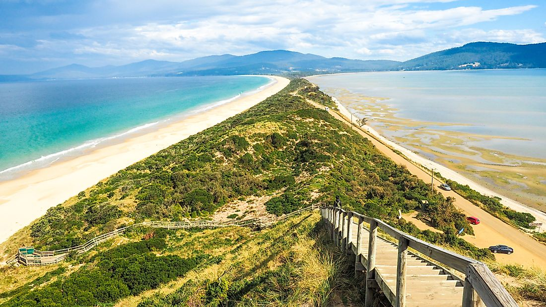 Isthmus connecting North and South Bruny Island in Tasmania.