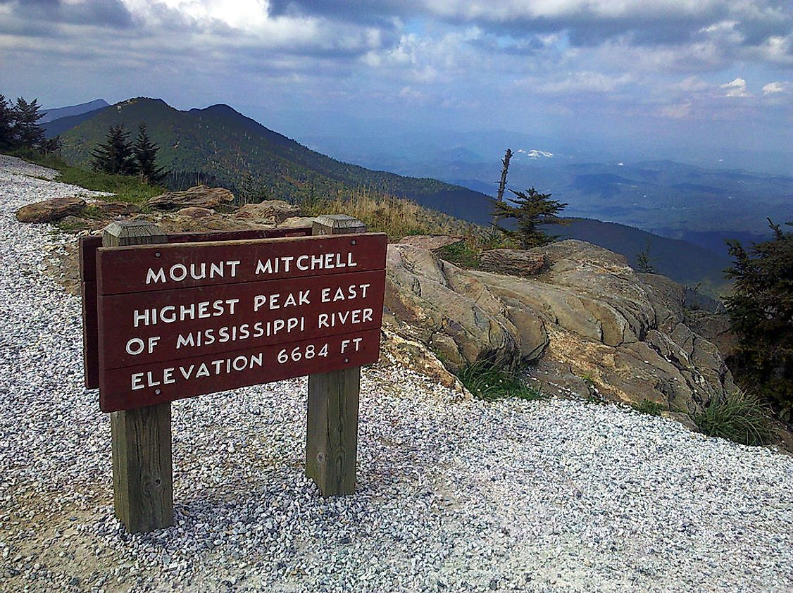 The highest mountain in the Appalachian Mountain range is Mount Mitchell at 6,684 feet above sea level.