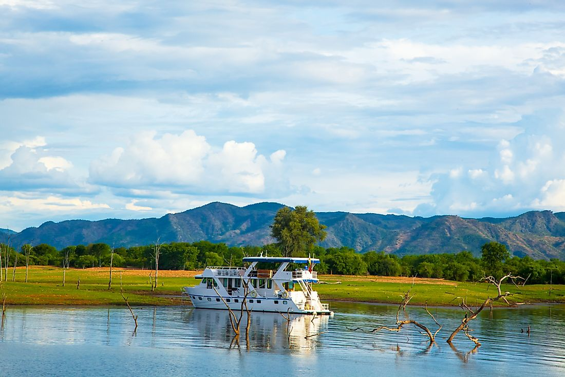 A houseboat on Lake Kariba, the largest artificial lake in the world.