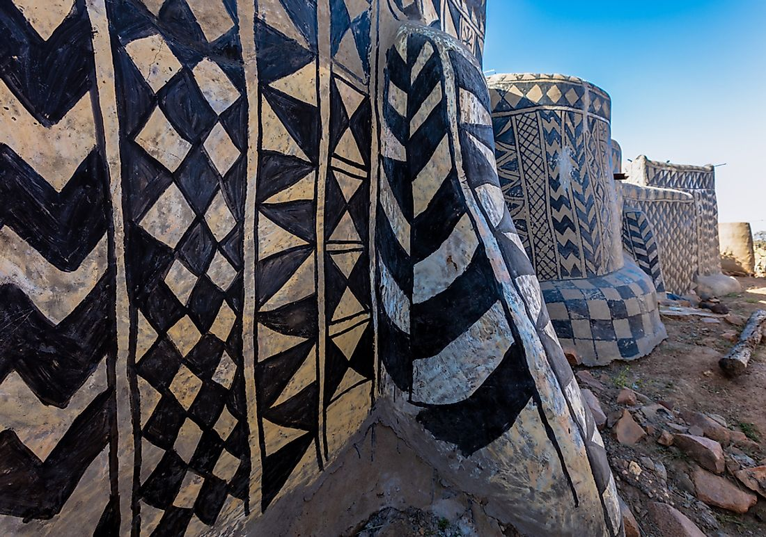 The exterior of the painted Kassena Houses in Burkina Faso.