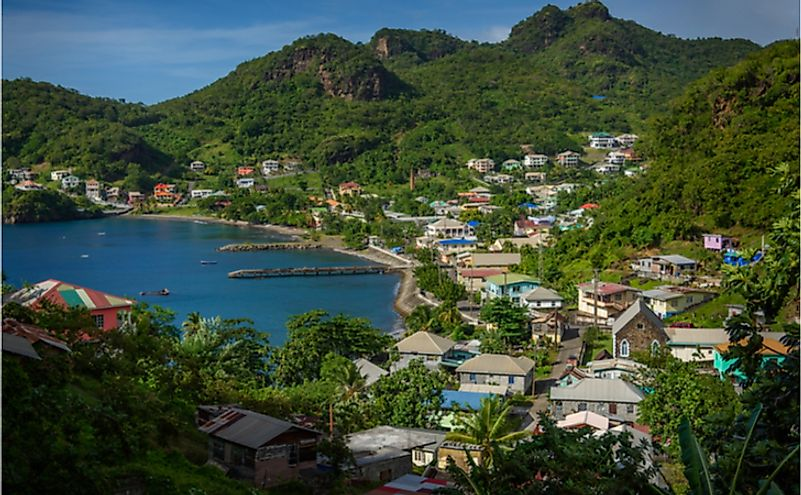 View of Barrouallie with Sea and palm trees in Saint Vincent and the Grenadines.