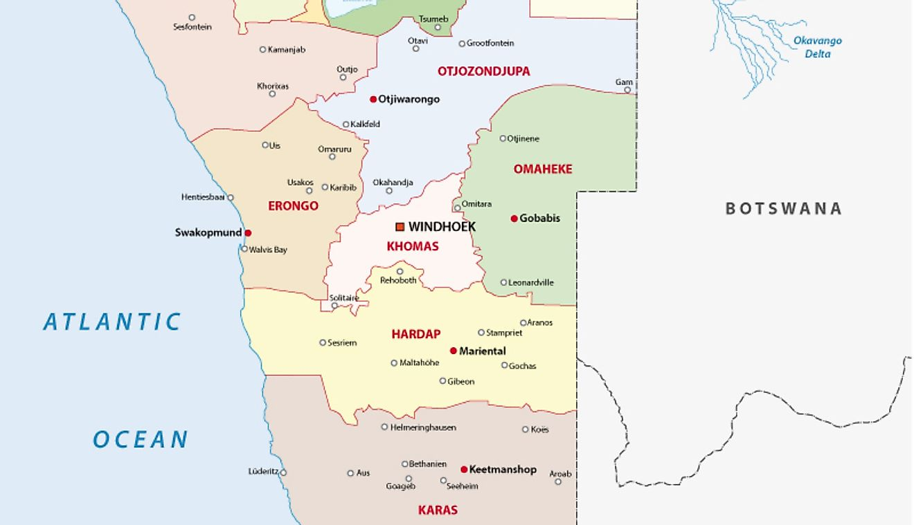 Political Map of Namibia showing its 14 regions and their capital cities and the national capital of Windhoek.
