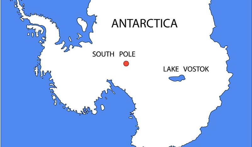 Lake Vostok's location within Antarctica.