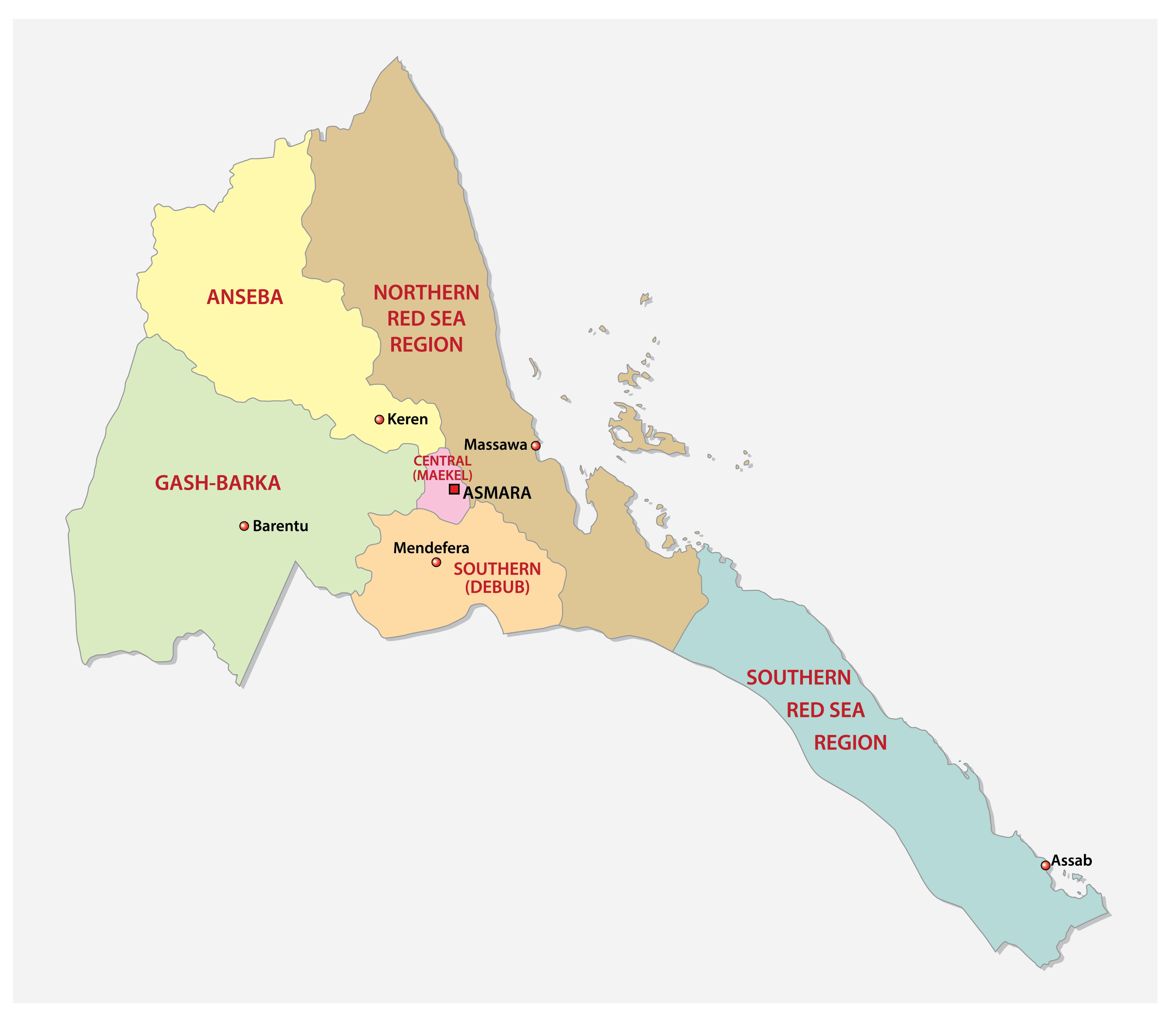 Political Map of Eritrea showing the six regions, their capitals including the national capital of Asmara.