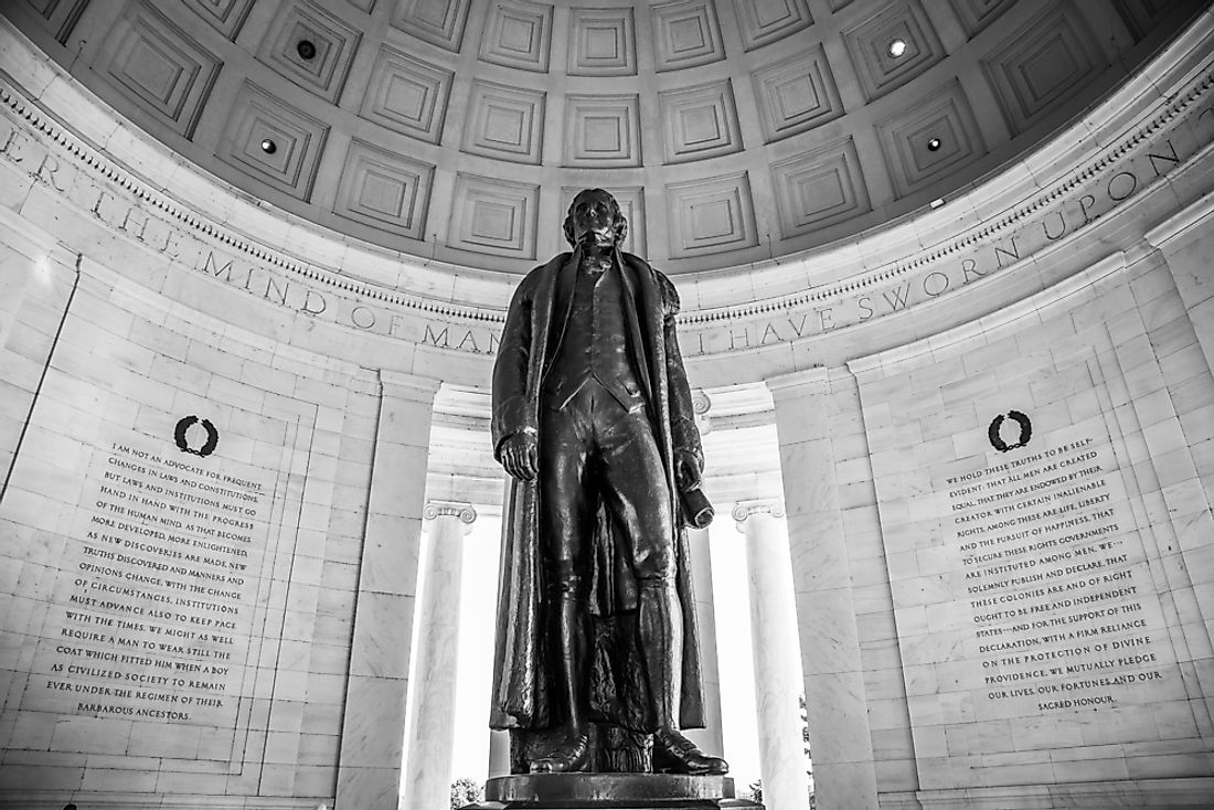 A statue dedicated to Thomas Jefferson in Washington, D.C.