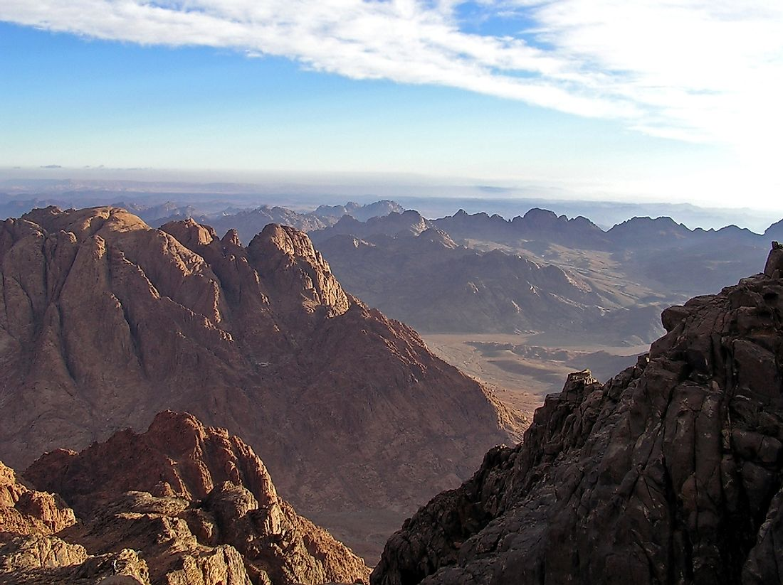 The Sinai Peninsula, which the border between Africa and Asia is centered around.
