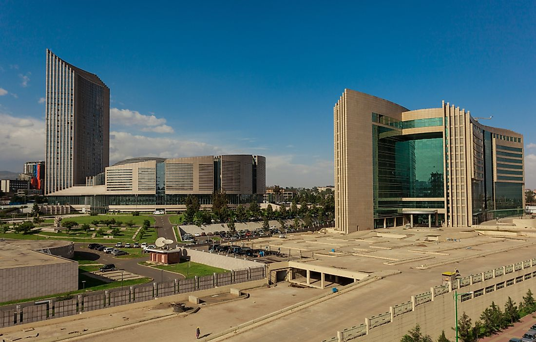 The African Union's headquarters complex in Addis Ababa. Editorial credit: christianthiel.net / Shutterstock.com.