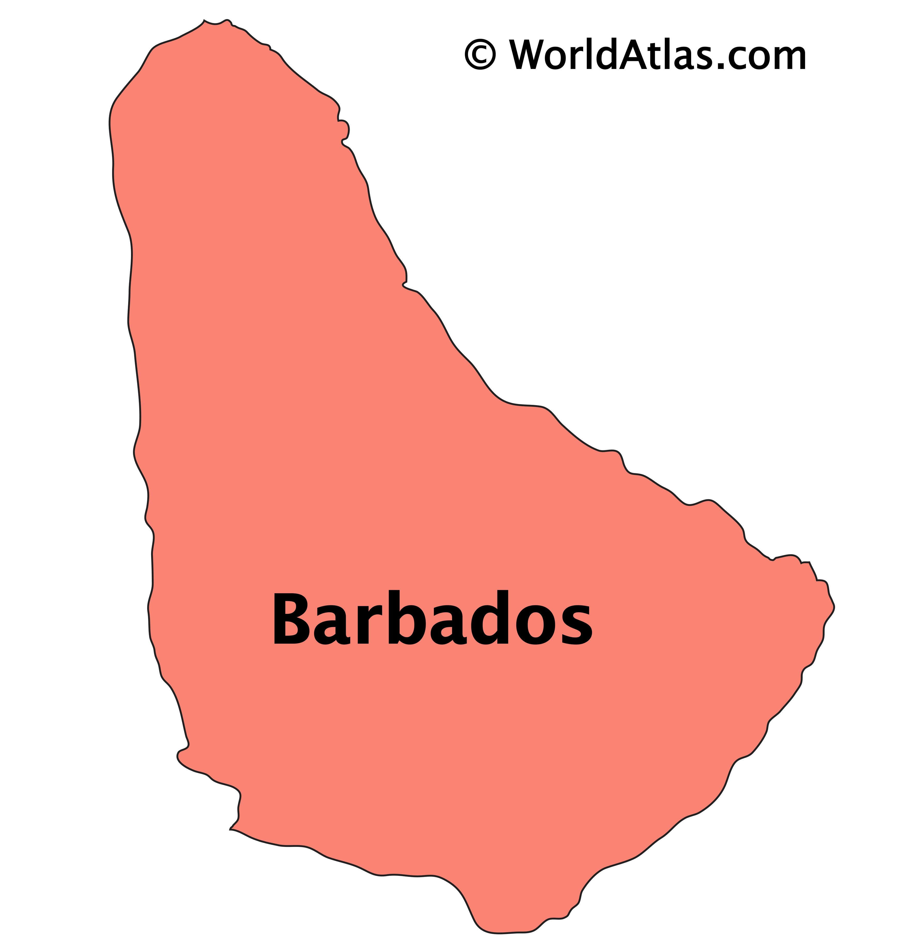 Outline Map of Barbados