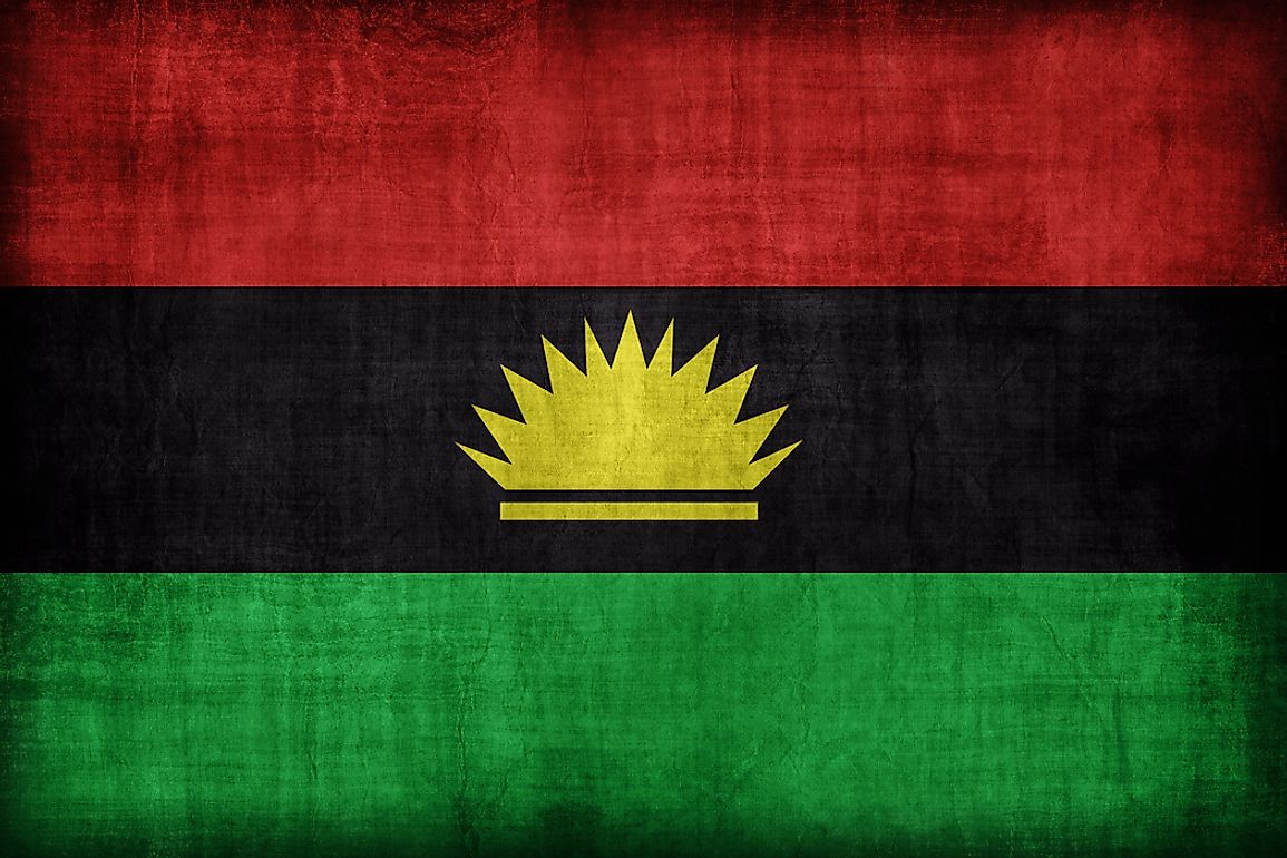 The flag of the Republic of Biafra, which existed as an unrecognized state rom 1967 to 1970.