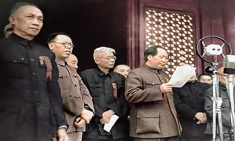 Mao Zedong declares the founding of the modern People's Republic of China, October 1, 1949.