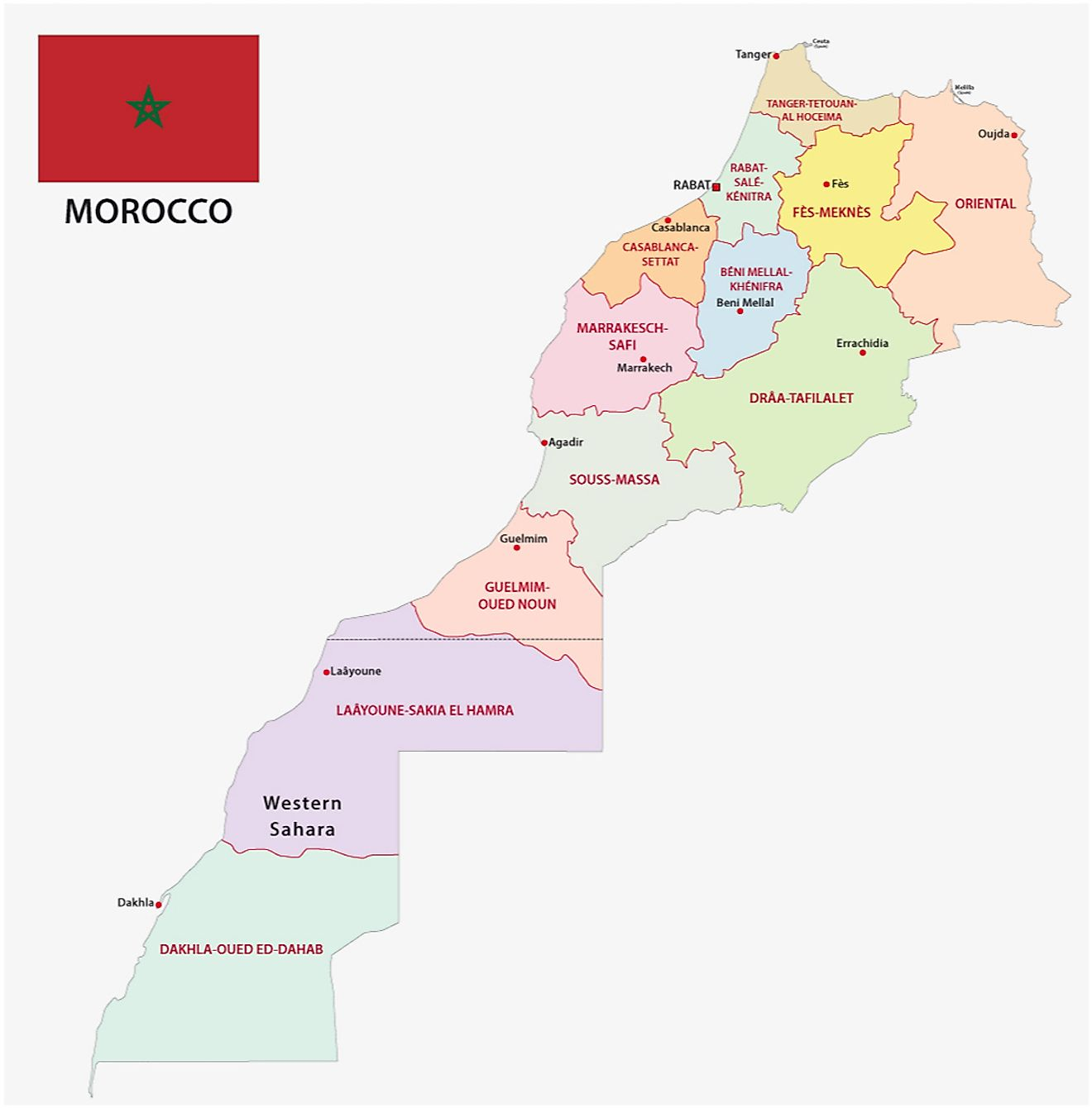 Political Map of Morocco displaying the administrative regions, their capitals including the national capital of Casablanca.