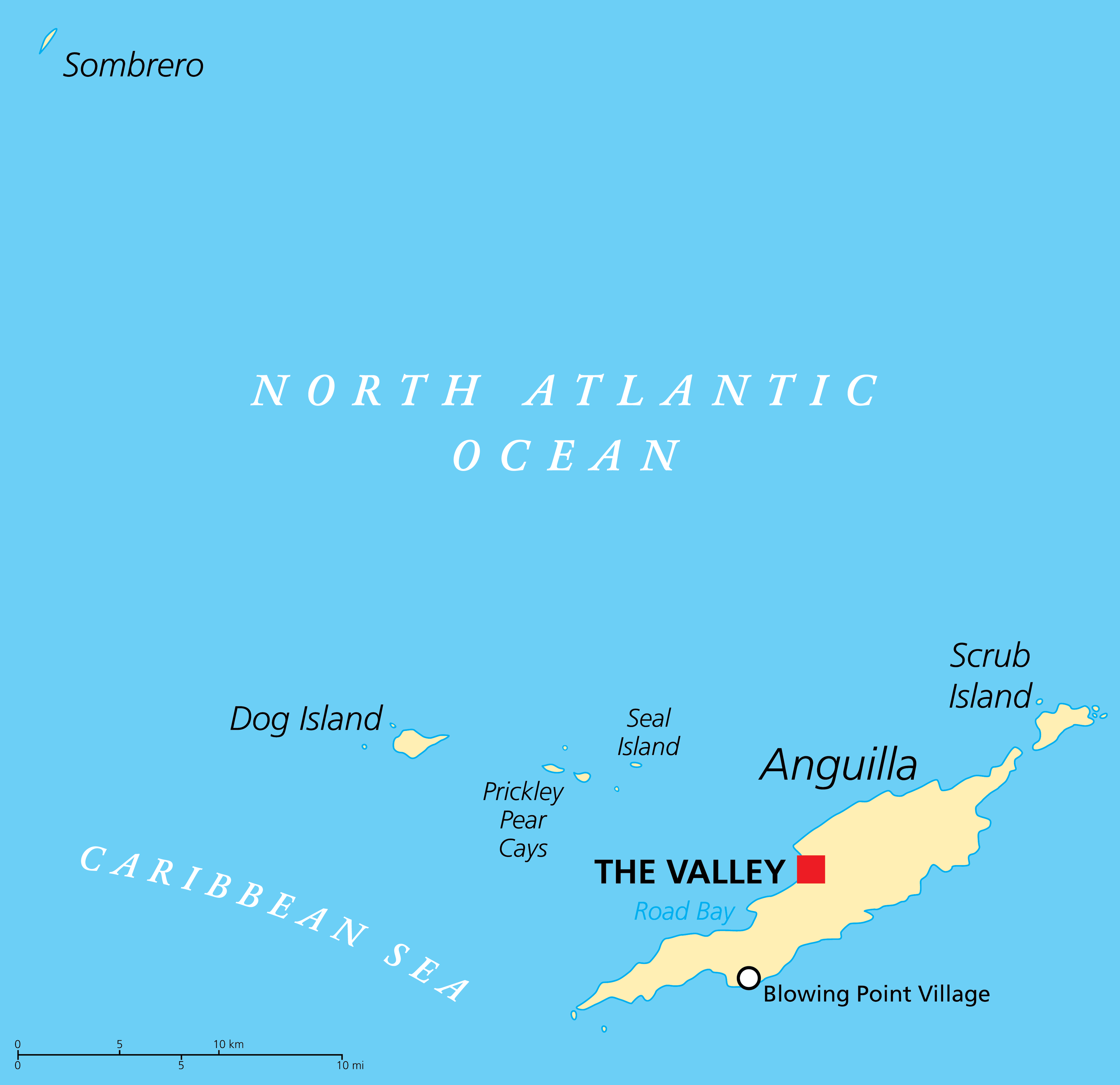 Political Map of Anguilla showing its capital The Valley