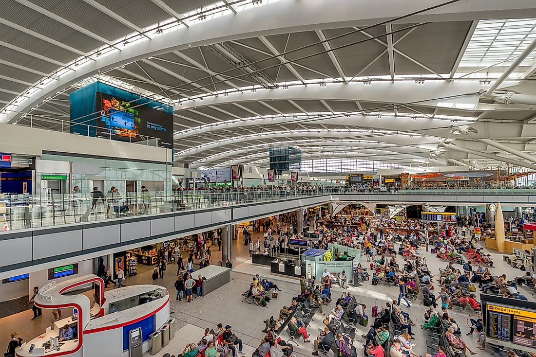 A scene inside the passenger area of Heathrow Terminal 5. Editorial credit: Gordon Bell / Shutterstock.com.