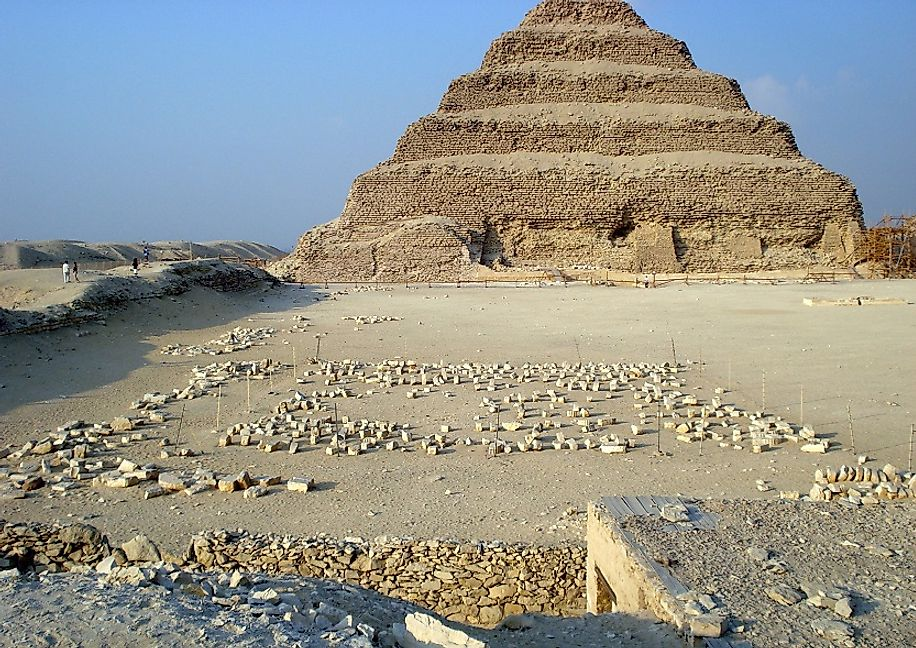 The Step Pyramid of Djoser, in the necropolis at Saqqara in Egypt, where it still stands circa 4,675 years after its construction.
