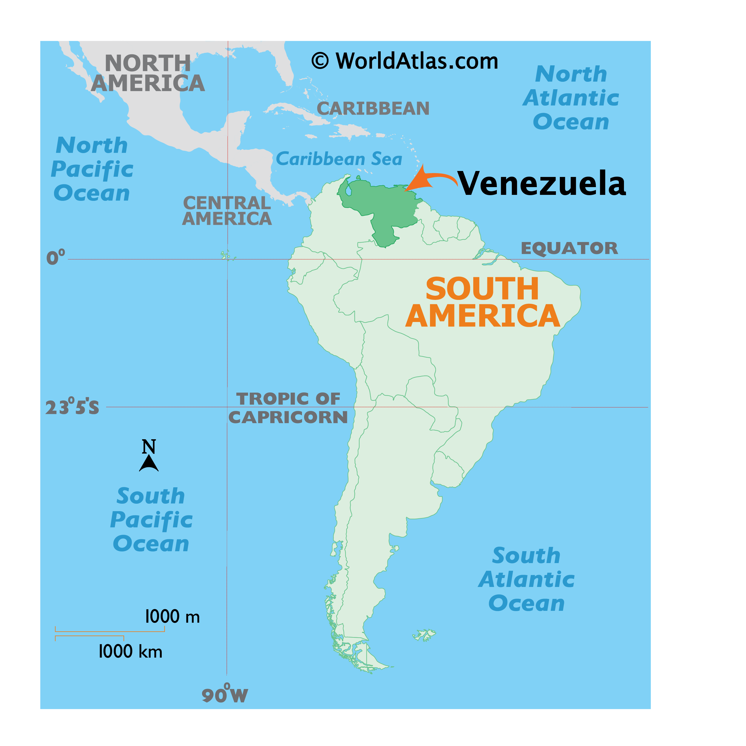 Map showing location of Venezuela in the world.