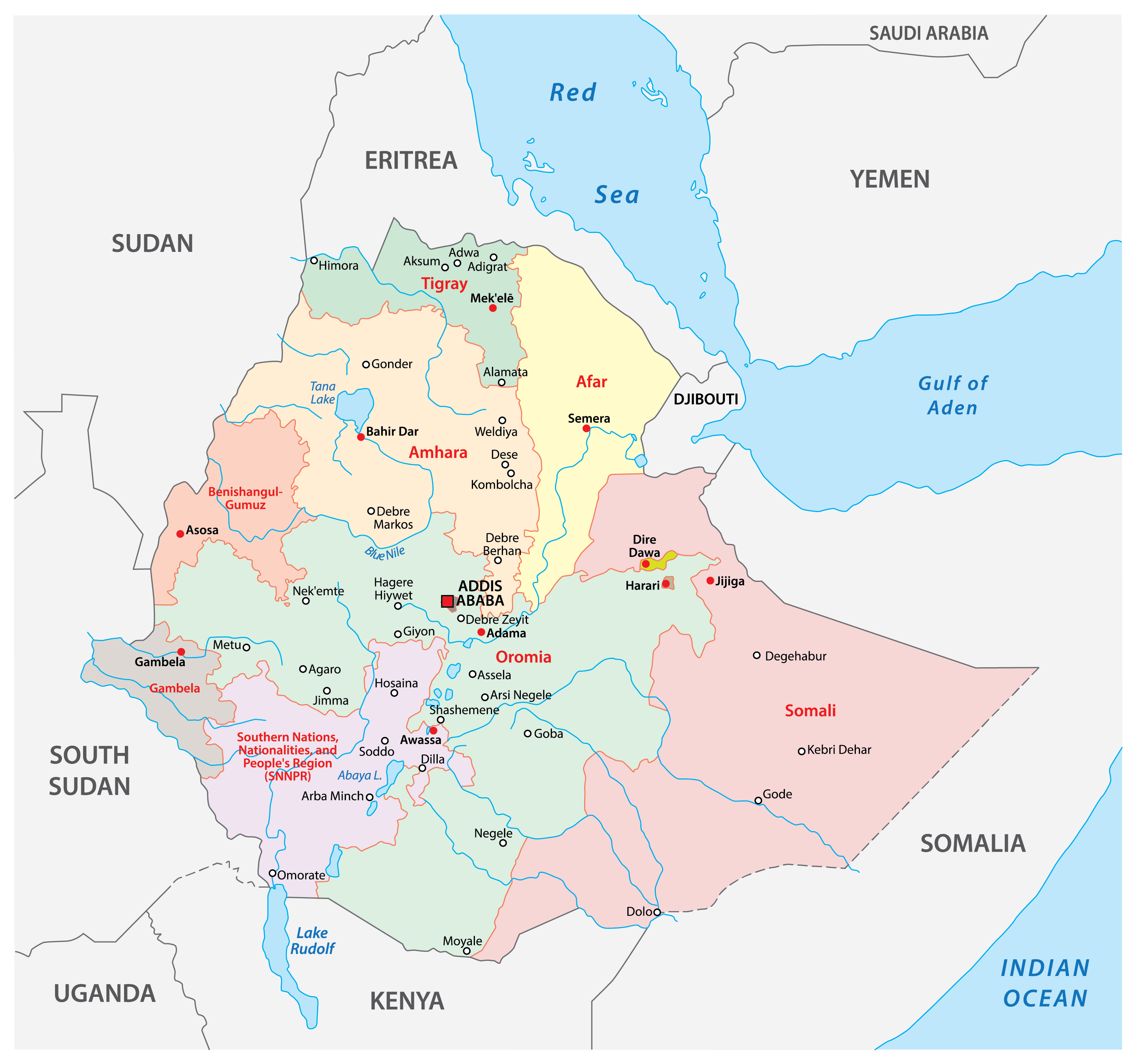 Political Map of Ethiopia showing the regions, their capitals and the capital city of Addis Ababa.