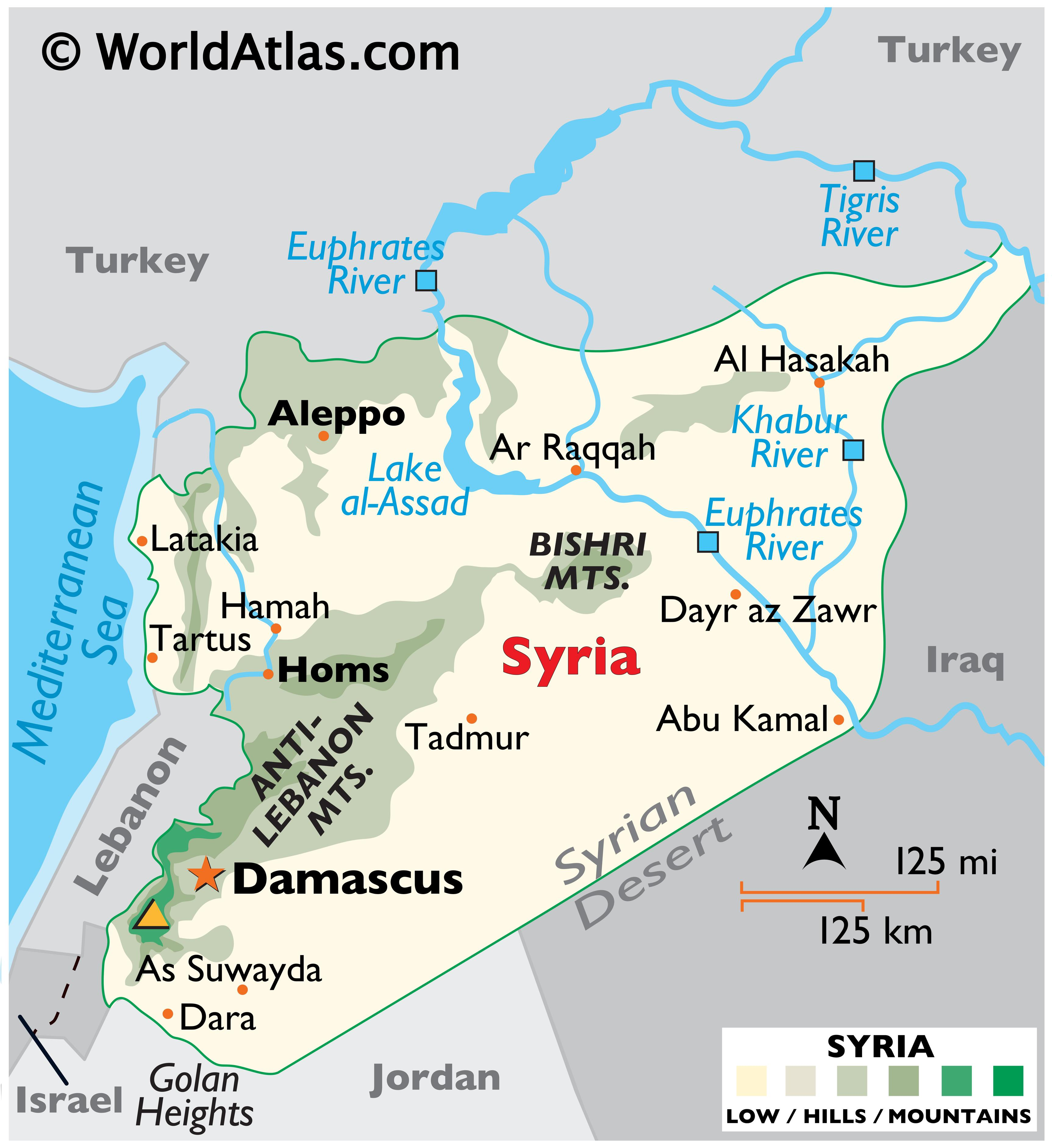 Phyiscal Map of the Syrian Arab Republic with state boundaries, relief, major mountain ranges, rivers, lakes, important cities, and more.