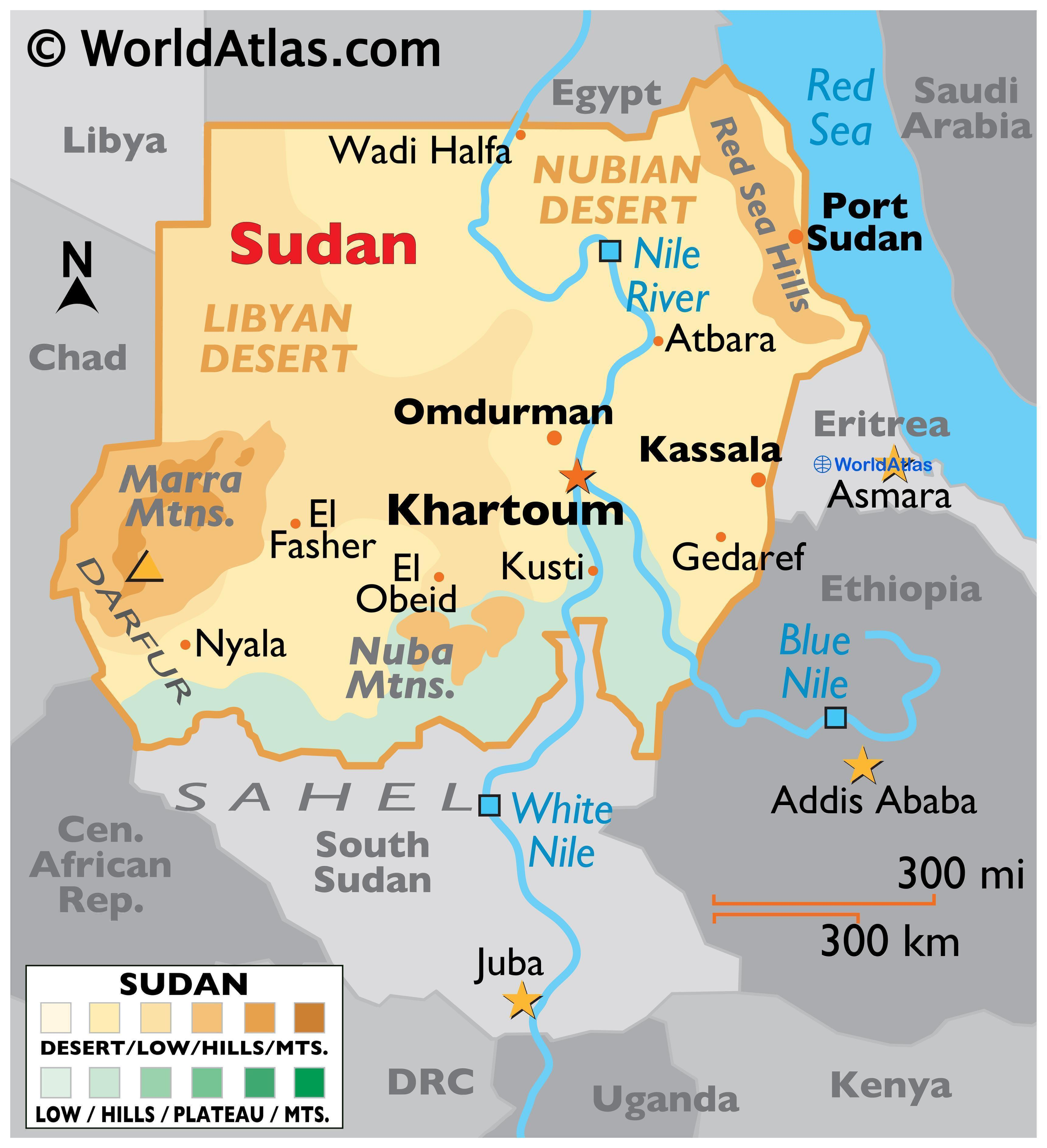 Phyiscal Map of the Sudan with state boundaries. It shows the physical features of Sudan including terrain, mountain ranges, plateaus, deserts, river systems, and major cities.