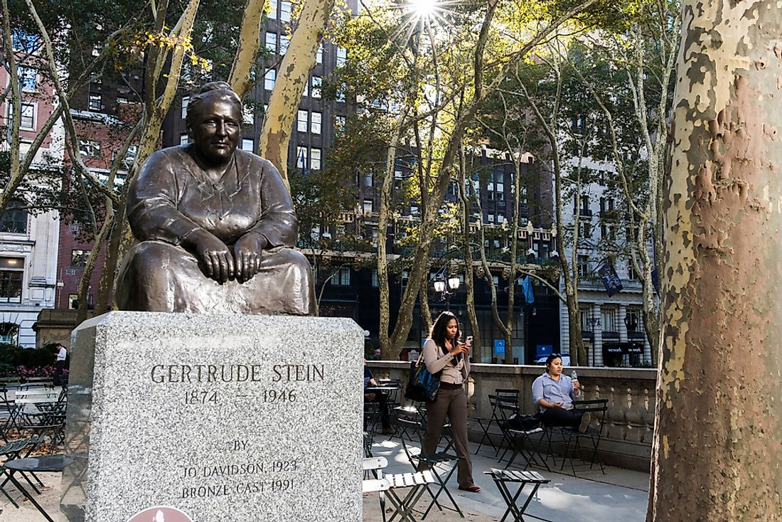 A statue of Gertrude Stein in Bryant Park, New York City. Editorial credit: Matias Honkamaa / Shutterstock.com.