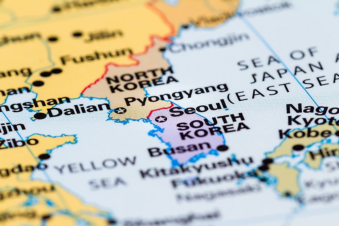 A map showing North Korea and South Korea's location on the Korean Peninsula.