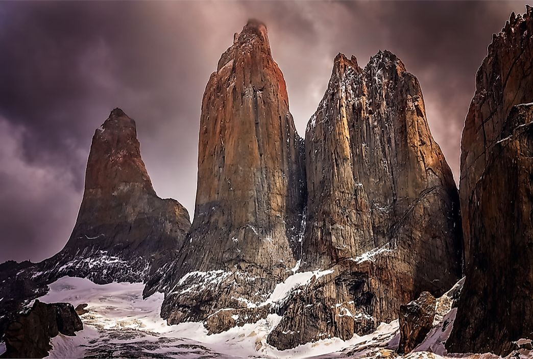 The Cordillera Paine in Torres del Paine National Park, Chile.