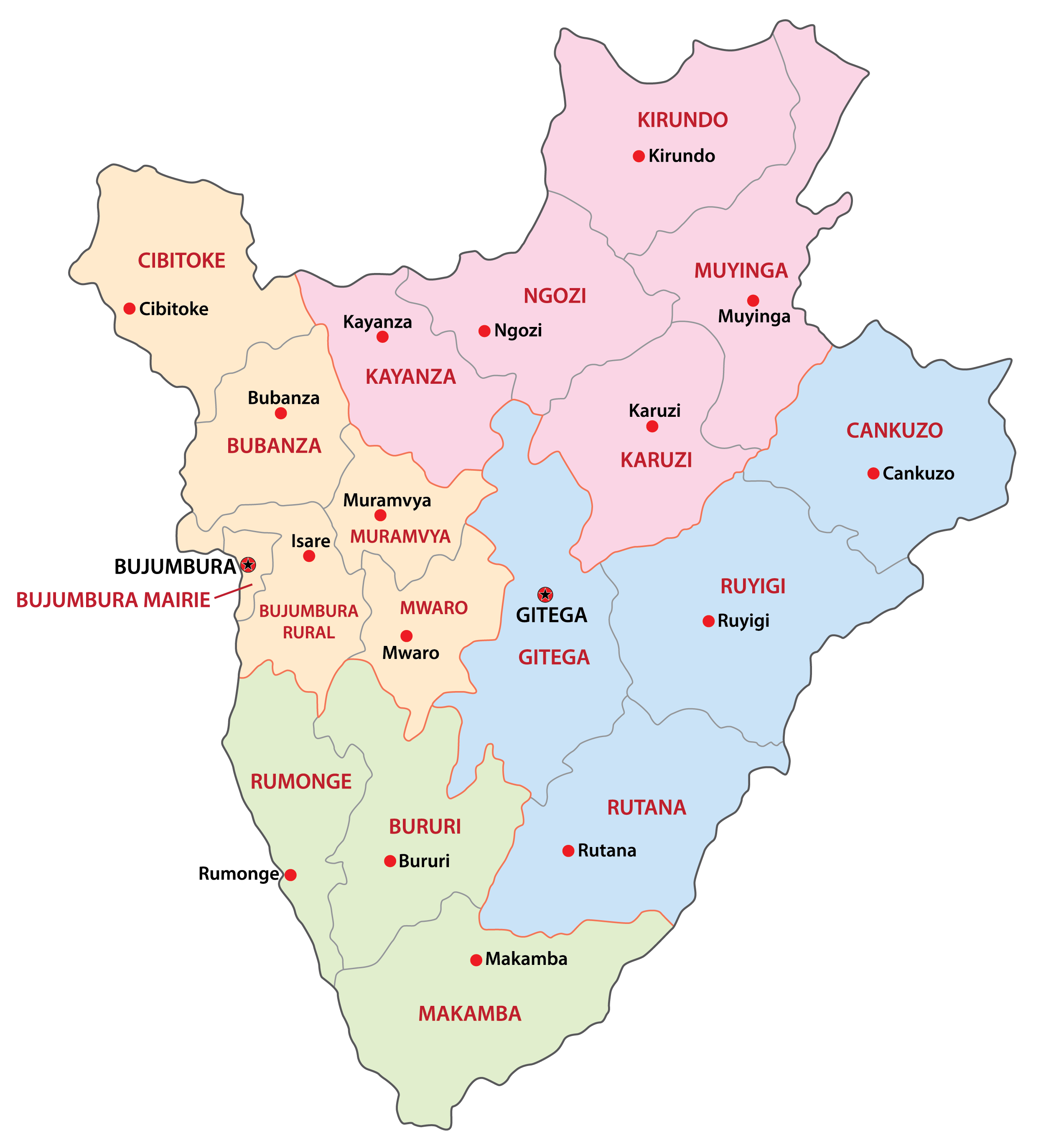 Political map of Burundi displaying its 18 provinces, their capital cities, and the national capital of Gitega.